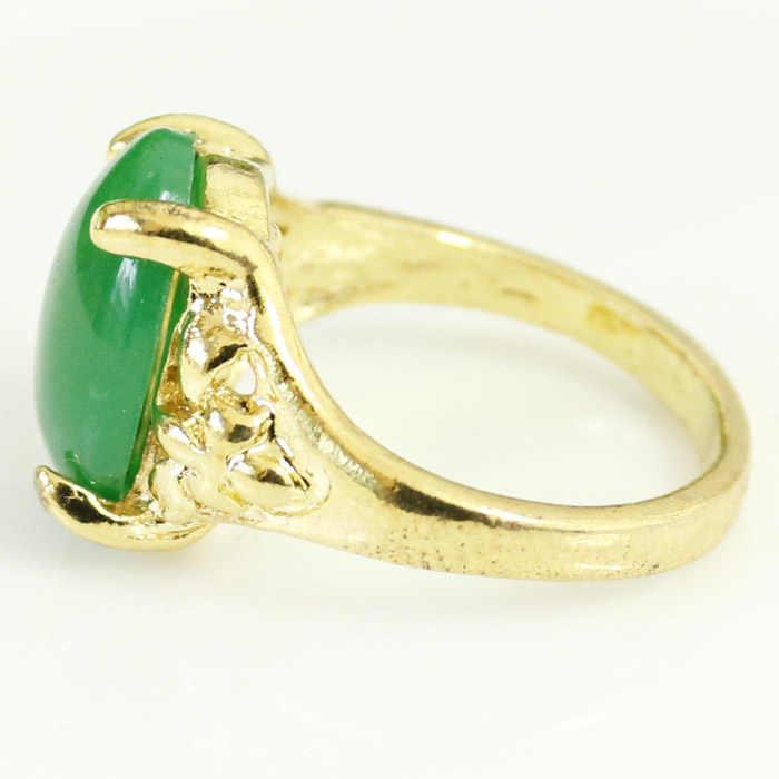 2017 gorąca sprzedaż wysokiej jakości naturalny zielony kryształ pierścień biżuteria zaręczynowy obrączki dla kobiet i mężczyzn w sprzedaży hurtowej