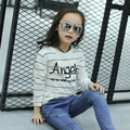 2017 spring fall hot children t-shirt 4-13 year old girl striped printed letters long-sleeved wild bottom shirt
