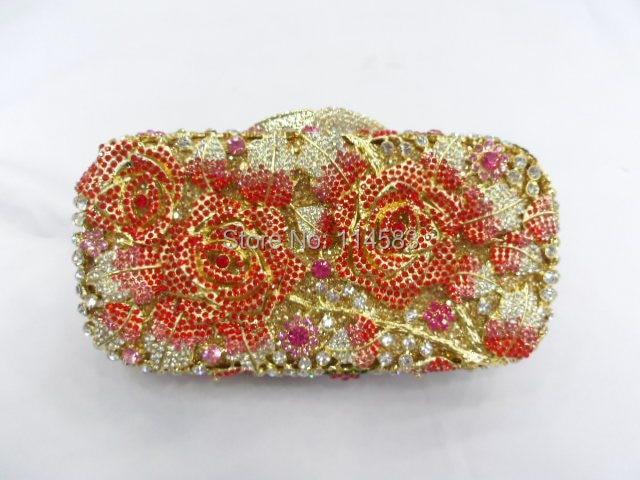 ФОТО #8207K Crystal ROSE Flower Floral lady fashion Bridal Party hollow Metal Evening purse clutch bag handbag