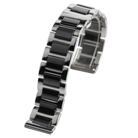 18mm 20mm Watches Strap Solid Stainless Steel Band Ceramics Link Wrist Watch Bracelet Silver Replacement Watchband for Men Women