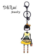 Cute Women Keychain Ring Trendy Lovely Doll Keychains for Girls Statement Bag Pendant Key Chain Ring Car Jewelry Perfect Gift bonsny acrylic statement dog jewelry dachshund chain key ring pom gift for women girl bag charm keychain pendant jewelry