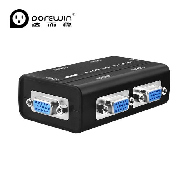 Dorewin 4 Ports VGA Splitter Duplicator 1 input 4 output VGA Switch PC S-VGA Video Signal Monitor Splitter Distributor
