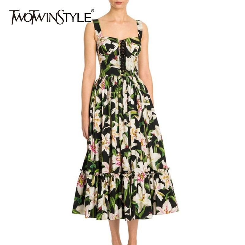 TWOTWINSTYLE Summer Flower Print Women Dress Sleeveless Off Shoulder High Waist Bandage Ruched Midi Dresses Female