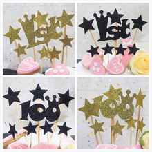 8pcs/lot 1st Birthday Cake Topper With Stars 100 Glitter Cupcake Flags Baby Shower Aniversary Party Decor