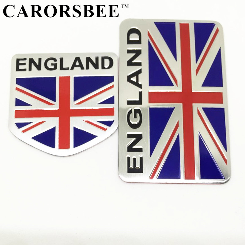 CARORSBEE 3D aluminum ENGLAND Emblem Badge Decal Car sticker British flag union jack nation car-styling Auto motorcycle bicycle auto chrome camaro letters for 1968 1969 camaro emblem badge sticker
