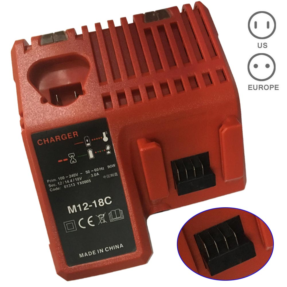 110-240V Li-ion Battery Charger for Milwaukee M12 M18 48-11-1815 48-11-1828 48-11-2401 48-11-2402 GDeals 3pcs 12v lithium ion 1500mah power tool rechargeable battery with charger replacement for milwaukee m12 48 11 2401 48 11 2402 page 5