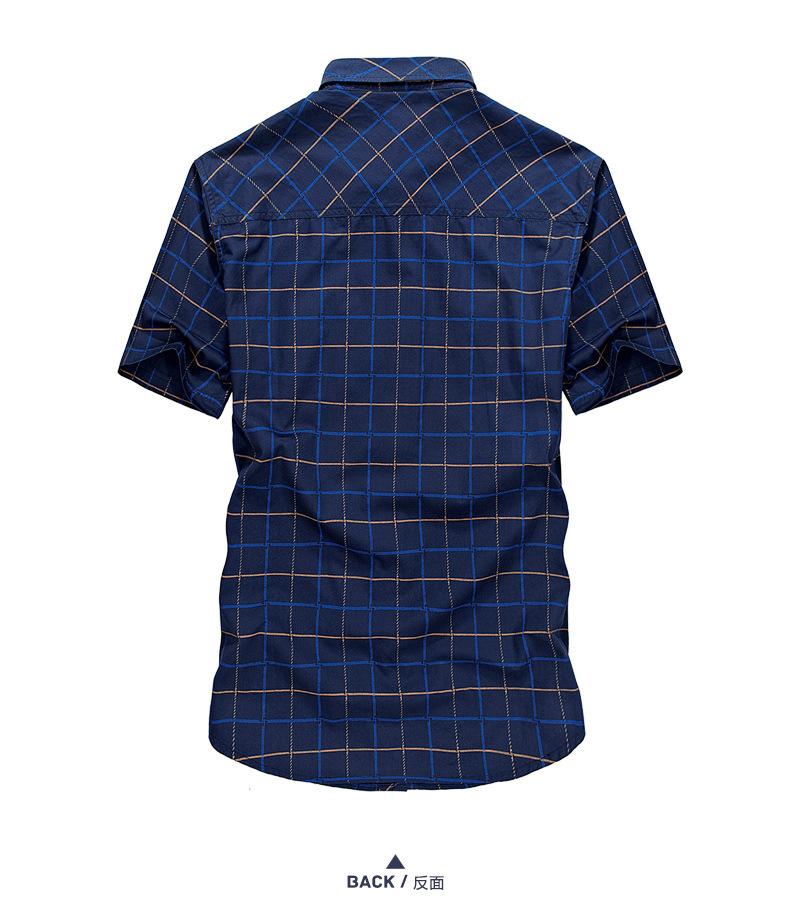 2655ffbcf41 Summer Mens Short Sleeve Shirts High Quality Cotton Male Plaid Shirt 2  Pockets Plus Size M-5XL