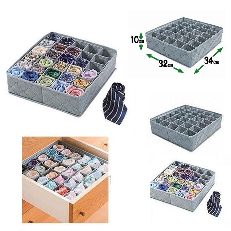 30 Cells Flodable Storage Boxes Underwear Organizer Socks Storage Box Home Bra Lingerie Ties Drawer Divider Lidded Closet Boxes(China)