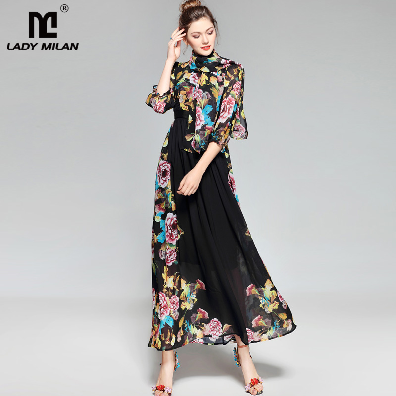 Lady Milan 2018 Womens O Neck 3/4 Sleeves Floral Printed Elegant Long Casual Designer Dresses with Scarf