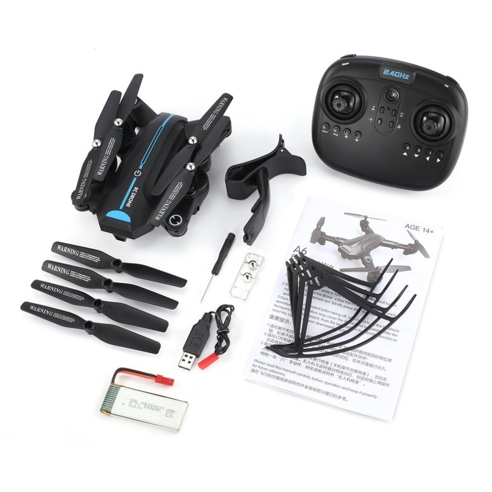 A6W Foldable RC Drone 2.4G Wi-Fi FPV 720P Wide-Angle HD Camera RTF Quadcopter With Gravity Sensor Altitude Hold Headless ModeA6W Foldable RC Drone 2.4G Wi-Fi FPV 720P Wide-Angle HD Camera RTF Quadcopter With Gravity Sensor Altitude Hold Headless Mode