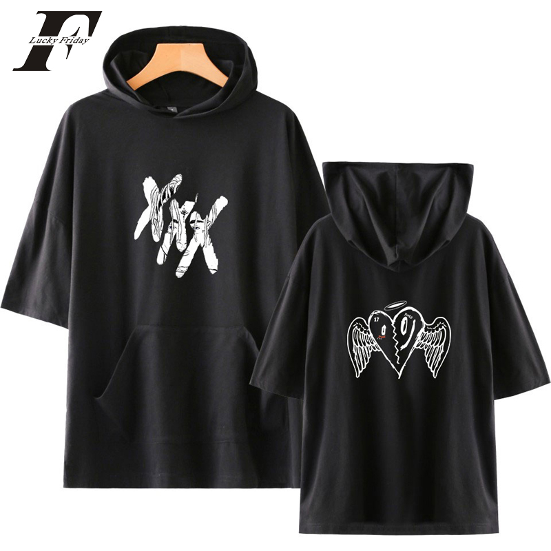 Cheap Price Summer Hip Hop Rapper Xxxtentacion Hoodie Sweatshirt Men Streetwear Short Sleeve Hooded Men Streetwear Harajuku Clothes Men's Clothing
