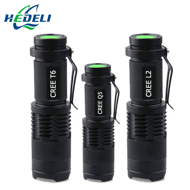 Mini Zoom CREE XM-L2 XML T6 XPE Q5 Led flashlight Torch rechargeable Flashlight 3800 Lumens Use 18650 rechargeable battery