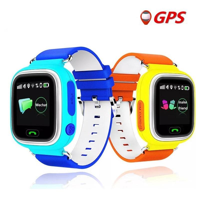 Enfants Montres Q90 GPS Téléphone Positionnement De Mode Enfants Montre 1.22 pouces Couleur Écran Tactile WIFI SOS Montre Intelligente Bébé PK Q100