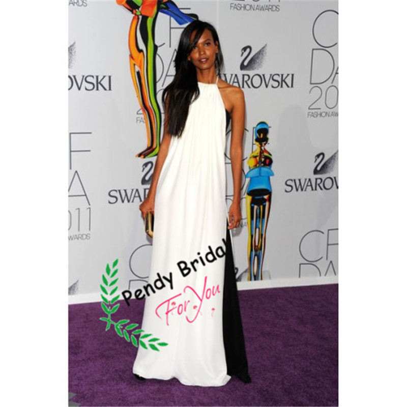 Liya Kebede Halter White And Black Formal Prom Dress For Tall Women  celebrity dress robe de soiree long dress evening -in Prom Dresses from  Weddings ... c7f1f0331837