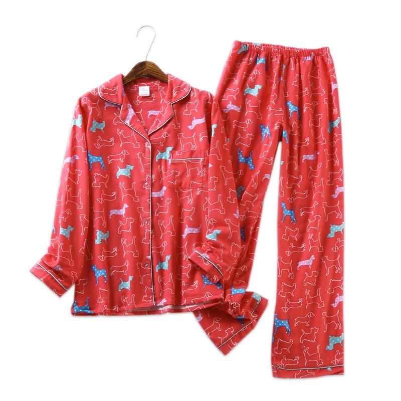 9e081d8294059 Sexy red dog cute 100% brushed cotton pajama sets women winter soft  sleepwear women homewear Christmas pijamas mujer