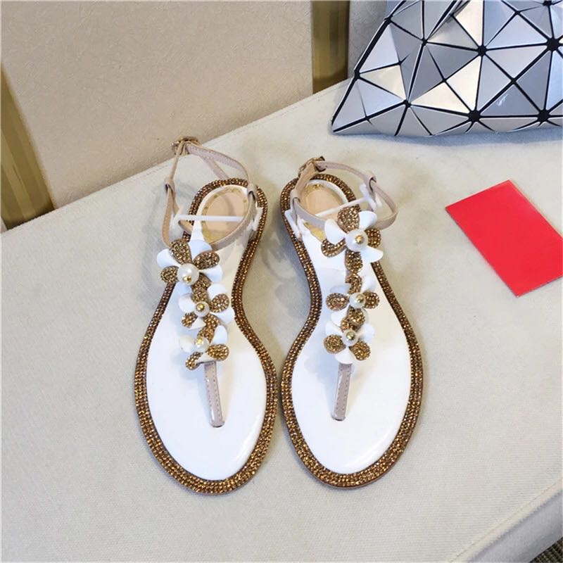 2019 New Fashion Woman Luxury Crystal Flower Pearl Embellished Flat Blingbling Glitter Sandals Thong Sandals Flip-flops