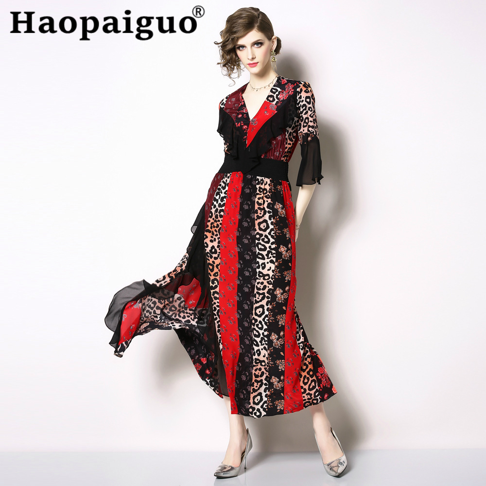 S-XXL Big Size Print Leopard Dress Women V-neck Corset Patchwork Chiffon Dresses Ladies Swing Summer Long 2019 Robe