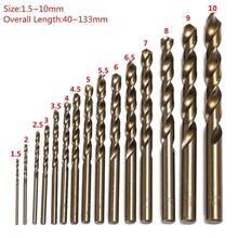 15 pces ajustaram 1.5mm-10mm cobalto de alta velocidade aço torção broca buraco m35 conjunto de ferramentas de aço inoxidável todo o metal à terra reamer ferramentas