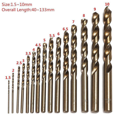 Juego de 15 Uds. De agujero de taladro de acero de alta velocidad de cobalto de 1,5 MM-10 MM, juego de herramientas de acero inoxidable M35, herramientas de escariador metálico para todo el suelo