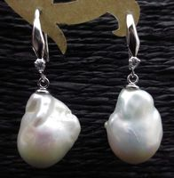 baroque 13.5mm nucleated genuine freshwater pearl earring