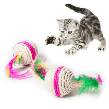 Colorful Cat Toy Ball Interactive Cat Toys Play Chewing Rattle Scratch Sisal and feathers Ball Training Pet Supplies