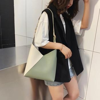 Splicing Contrast Bucket Shoulder Bag  1