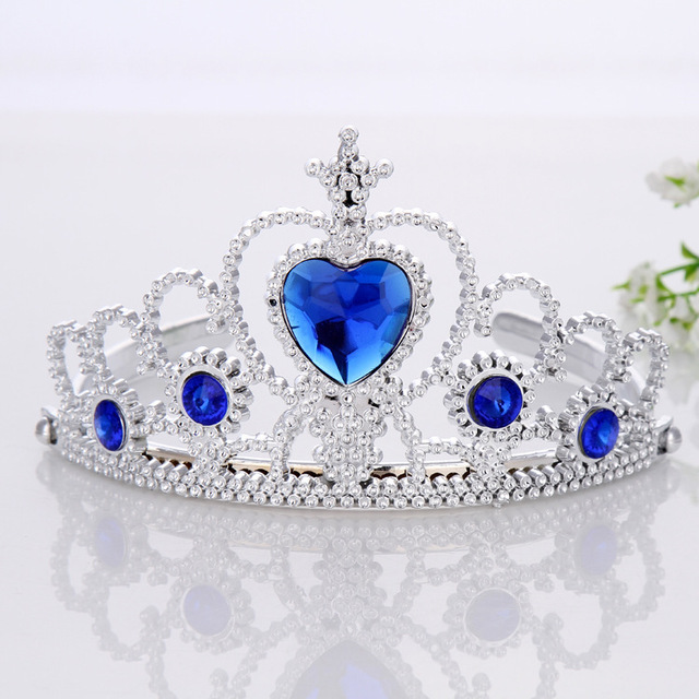 1pcs   2018Fashion Accessories  Girl Tiara Crown Multicolor Rhinestone Princess Crown Plastic Silver Color Headwear