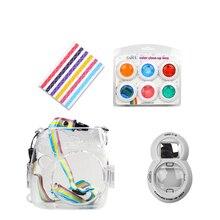 Fujifilm Instax Mini 8 7 s пленочный фотоаппарат Прозрачный защиты сумка + 6 в 1 Красочные фильтр + Close- на объектив Автопортрет Зеркало