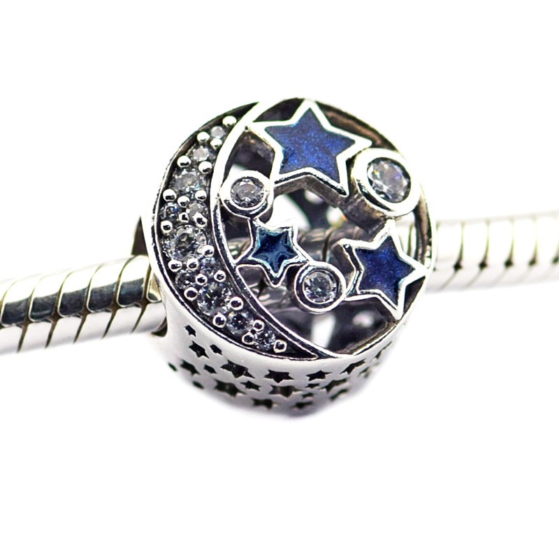 FL471 Beads Fits Pandora Charms Bracelets Vintage Night Sky Shimmering Midnight Blue Enamel&Clear CZ Charm Beads For Jewelry Making  (1)