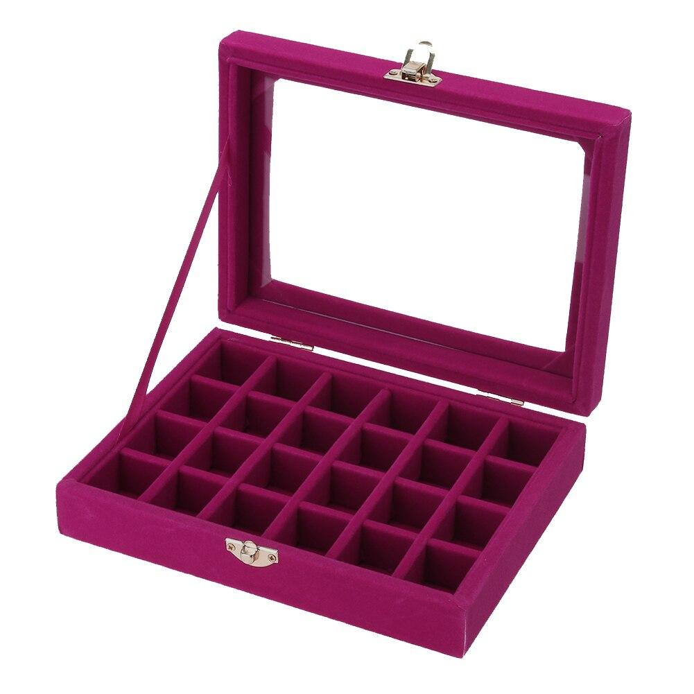 Velvet Jewelry Box 20x15 X 4.5cm Jewelry Tray Holder Storage Jewelry Organizer 24 Grids Ring Ear Studs Jewelry Box