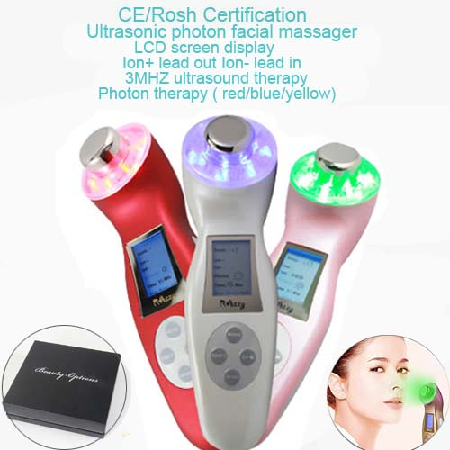 3MHz Ultrasoun Ultrasonic Facial Beauty Device Led Photon Skin Rejuvenation Face Lifting Tightening Firming Machine portable home use led photon blue green yellow red light therapy beauty device for face and body skin rejuvenation firming