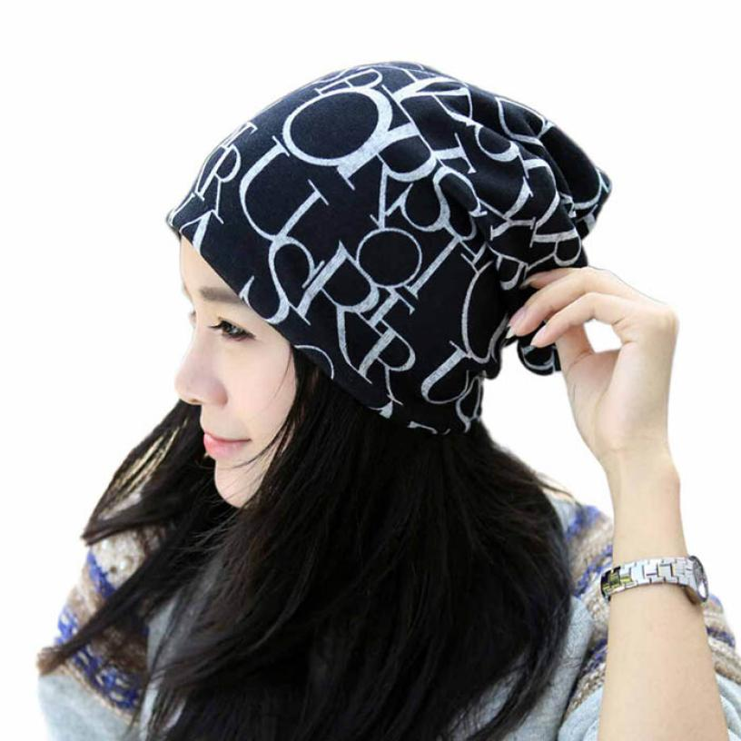 Womail 2017 New Arrival Woman Classic Fashion Hip-Hop English Letter Multi Purpose Baggy Hat Unisex Scarf Beanie Cap SEP27