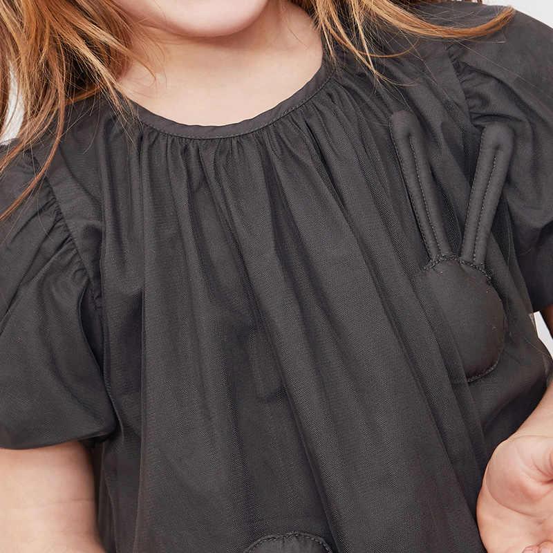 Minibalabala Crianças vestidos de roupas de verão 2019 novas crianças malha meninas romântico A Linha sólida de algodão vestido de princesa