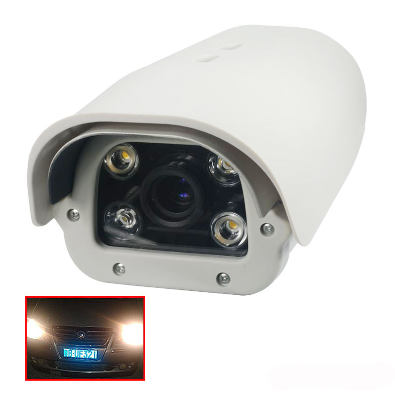 Onvif 1080P 2MP fixed lens Vehicles License Plate Recognition LPR IP Camera outdoor White Light LED