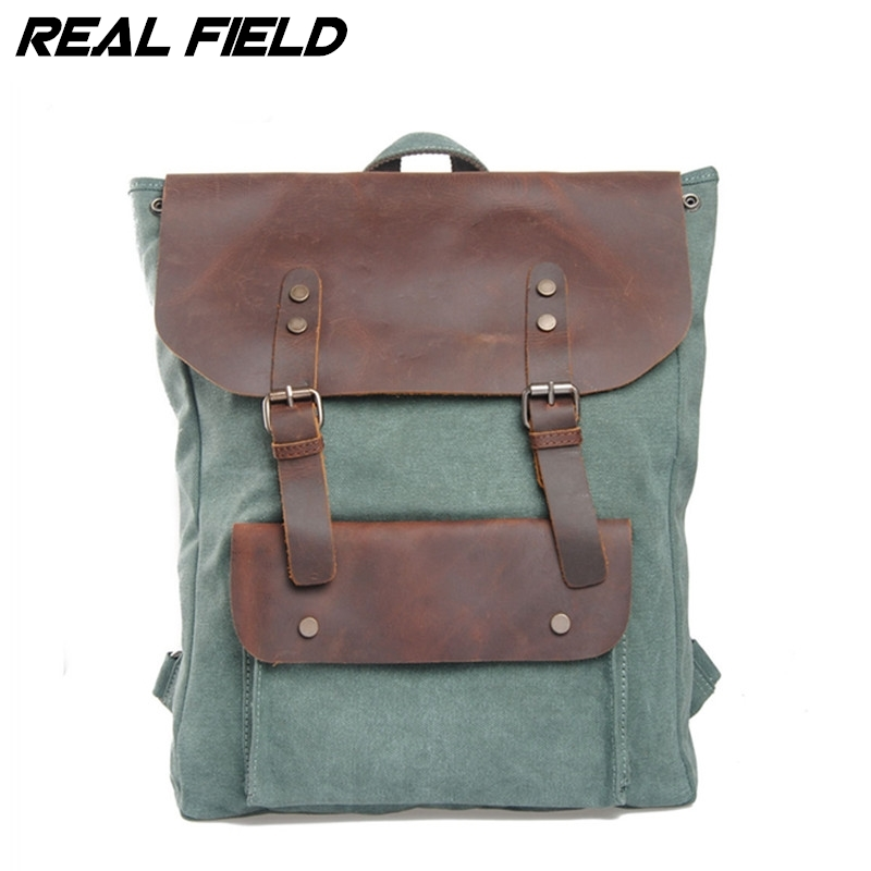 Real Field Genuine Leather Canvas Backpack Men Military Backpack Boy Girl Vintage Thick Canvas School Backpack Shoulder Bag 014