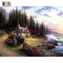 WEEN Landsacpe Pictures Painting By Numbers DIY Digital Oil Wall Canvas Art Castle and Tree Coloring by numbers For Home Decor