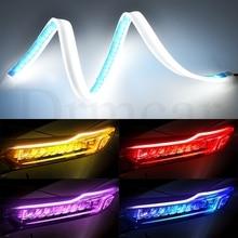 2pcs 30cm/45cm/60cm Flexible LED Strip Light Waterproof Slim  Turn Signal Yellow Flowing Day time Running Lights DC 12V