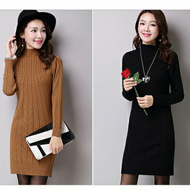 Ladies Plus Size Long-Sleeve Long-Sweaters 2018 Fall Lagenlook Casual Turtleneck Solid Color Thickening Sweater Dress 2