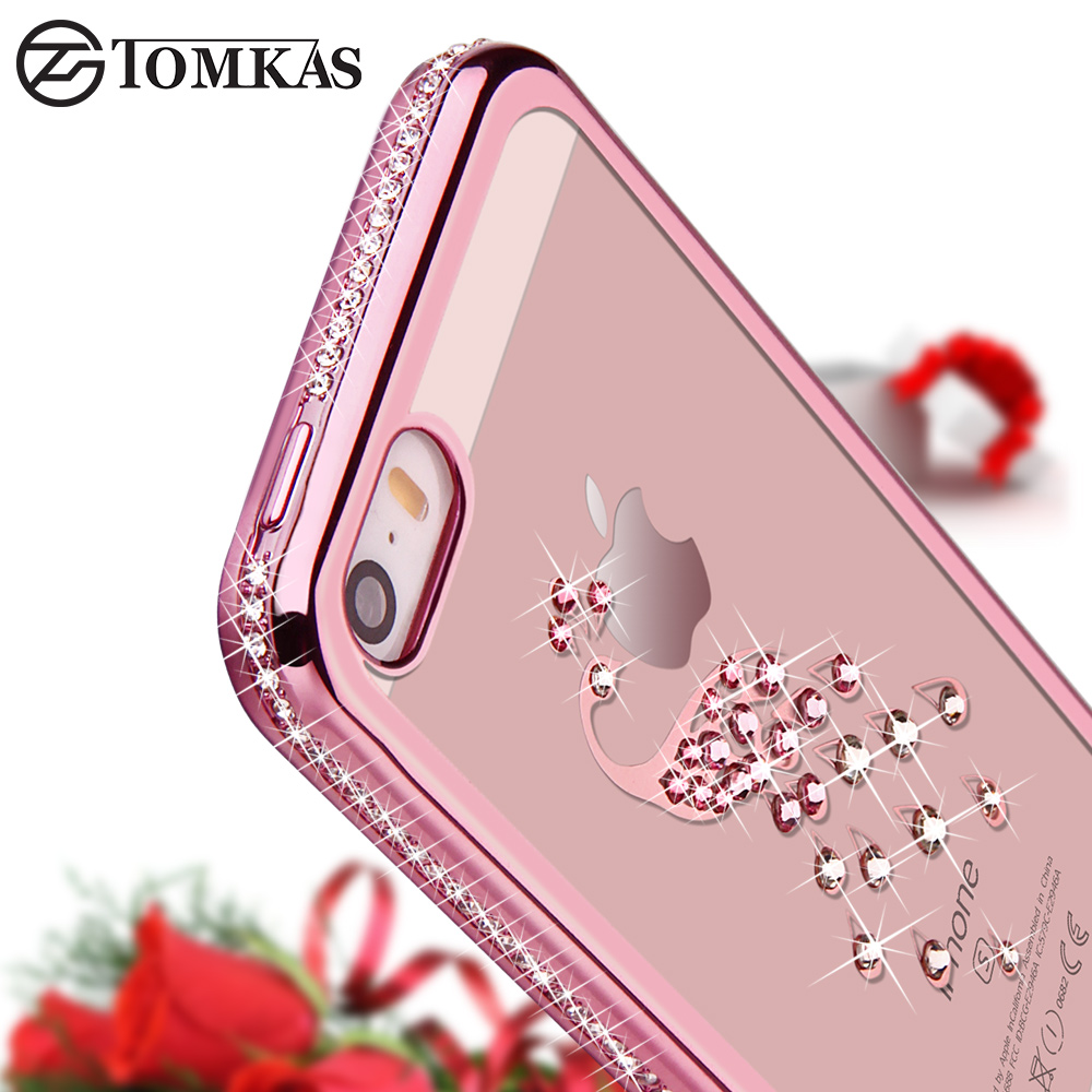 TOMKAS Rhinestone Case For iPhone 5 SE 5S Luxury Bling Diamond Silicone Phone Case For iPhone SE 5</fo