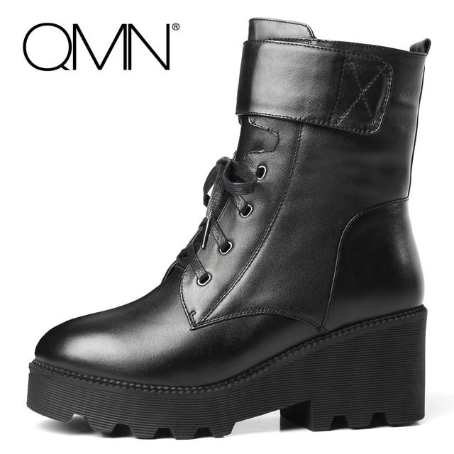 QMN женщин неподдельной кожи зимние ботинки Женщин Настоящее Овец Меха сапоги Женской Обуви Черный Зимние Ботильоны С Пряжкой Botas Femininas