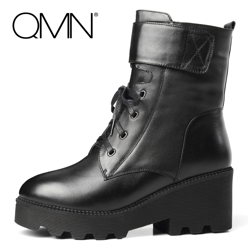 QMN women genuine leather snow boots Women Real Sheep Fur Boots Shoes Women Black Winter Ankle Boots With Buckle Botas Femininas
