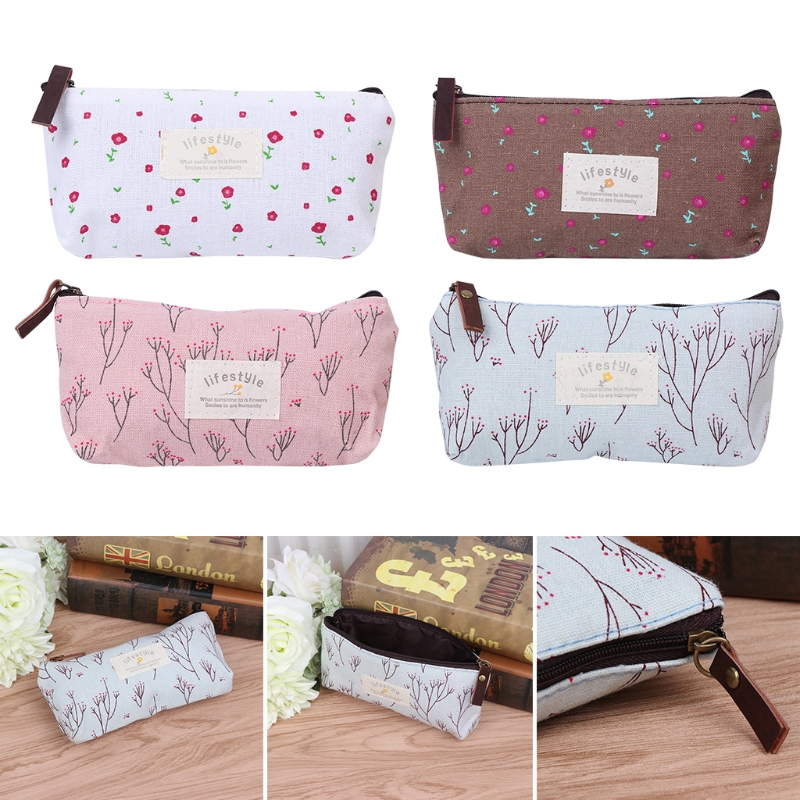High Quality Women Lady Girl Vintage Flower Floral Pencil Pen Bag Cosmetic Makeup Storage Bag Purse Coin Purse New Fashion