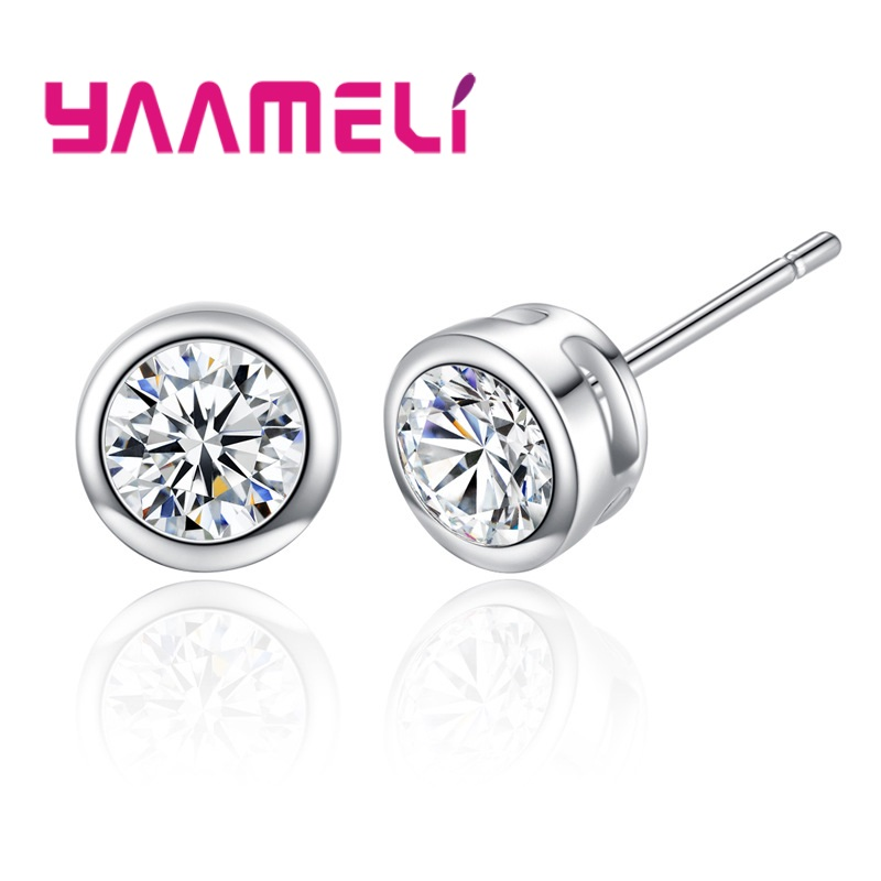 Big Sale 925 Sterling Silver 6MM Stud Earrings For Women Cubic Zirconia Jewelry Gifts For  Baby/Girls/Students 2