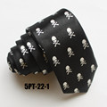 5cm Fashion Slender Ties Famous Branded Necktie with White Skulls
