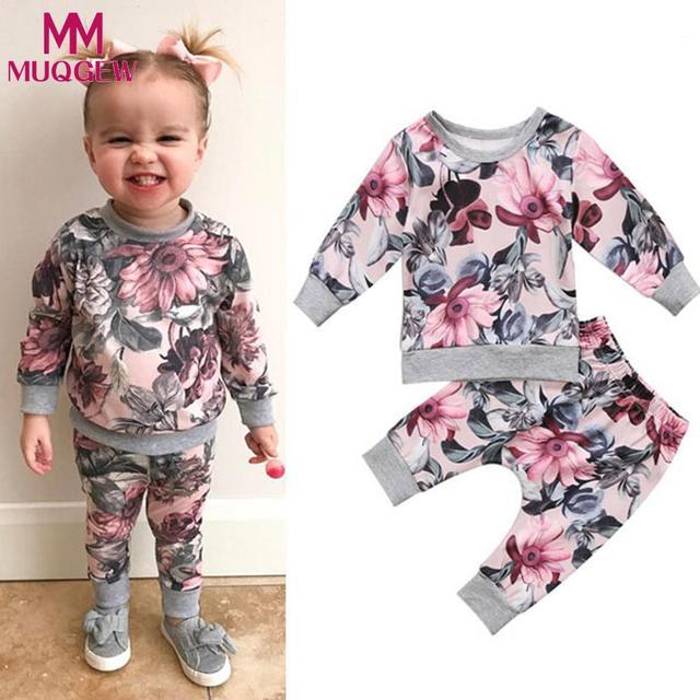MUQGEW יילוד פעוט תינוק בנות בני בגדי מעיל חולצה חולצות + מכנסיים פרחוניים חותלות תלבושות סט roupa דה bebe terno 6 M-24 M