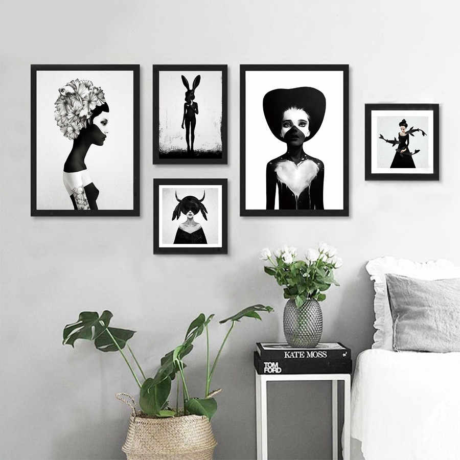 Girl Portrait Wall Picture Art Canvas Painting , Black And White Girl illustration Poster Modern Gallery Print Wall Decoration