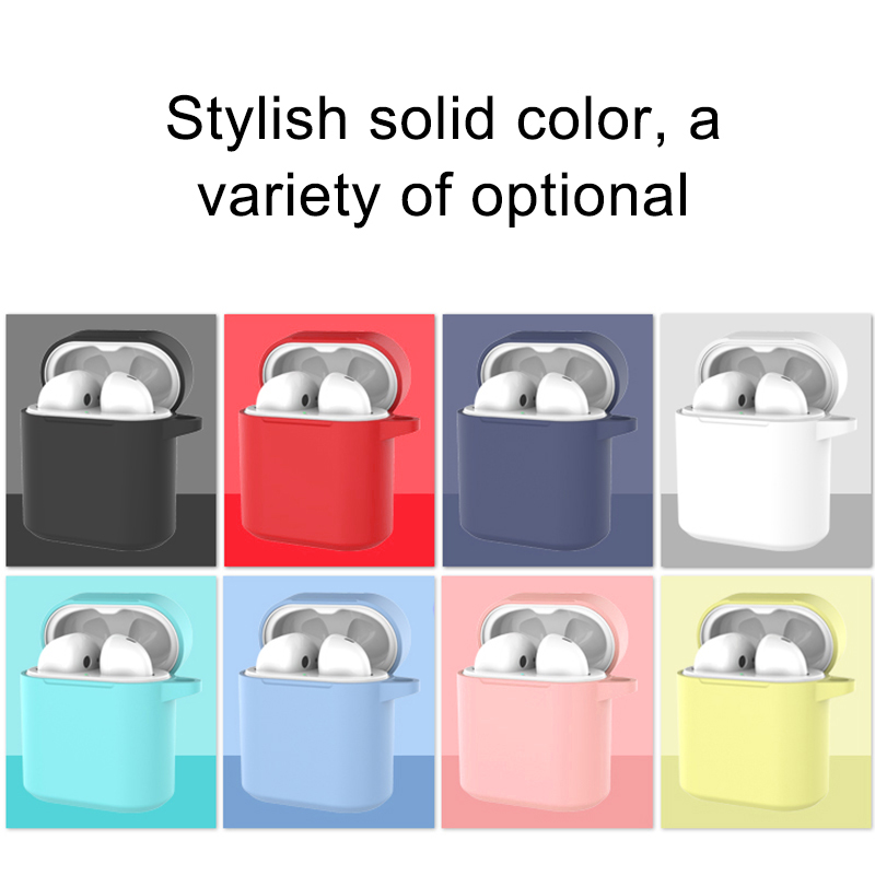 Soft Silicone Earphone Cases For Huawei Honor FlyPods Shockproof Cover Protective With Metal Carabiner Hook Anti-slip For Honor