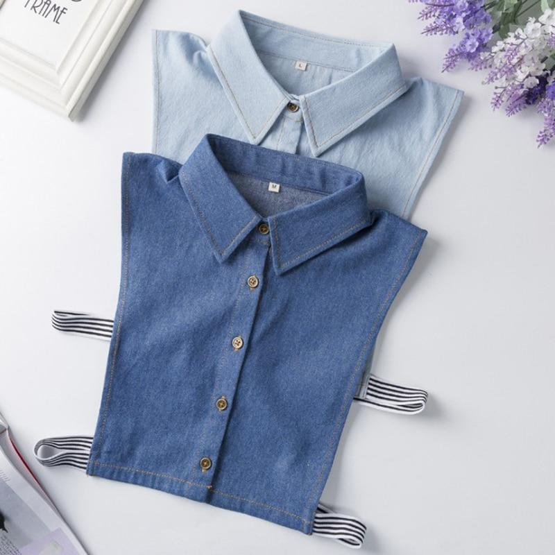 YSMILE Y Fashion Jean Fake Collar All-Match Shirt Blouse Detachable Collars Female Men Remove Unisex Collar Large Size M L