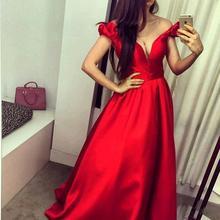 Elegant Taffeta V Neck Cap sleeve Red Long evening dress Uzun abiye elbise Saudi Arabia Evening gowns