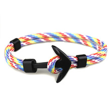 New Fashion Black Color Anchor Bracelets Men Charm Survival Rope Chain Paracord Bracelet Male Wrap Metal Sport Hooks